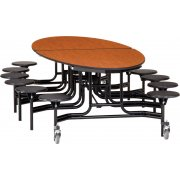 Folding Oval Cafeteria Table - Plywood, Chrome, 12 Stools