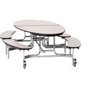 NPS Oval Bench Cafeteria Table - Chrome Frame (10x6')