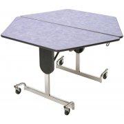 MIT Adj. Height Hexagon Cafeteria Table - Chrome (48x48