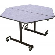 Mobile Hexagon Cafeteria Table - Black Legs (48x48
