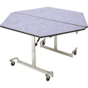 Mobile Hexagon Cafeteria Table - Chrome Legs (48x48