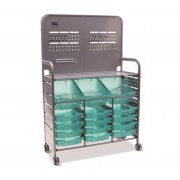 MakerSpace Cart with 3 Deep & 12 Shallow Antimicrobial Trays