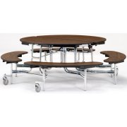 "NPS Round Bench Cafeteria Table - Plywood, Chrome, 60"" dia."