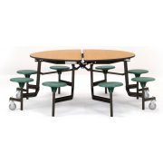NPS Folding Round Cafeteria Table - Plywood Core, 8 Stools