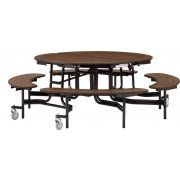 "Folding Round Bench Cafeteria Table–MDF, ProtectEdge (60"" dia.)"