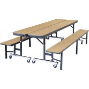 Convertible Bench Cafeteria Table - Plywood, T-Mold (6')