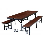 Convertible Bench Cafeteria Table - Plywood, ProtectEdge (7')