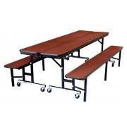 Convertible Bench Cafeteria Table - Plywood, ProtectEdge (8')