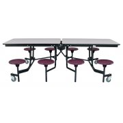 NPS Cafeteria Table with 8 stools, Plywood Core, ProtectEdge