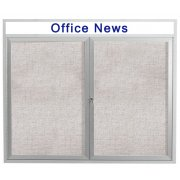 Weather-Resistant Illuminated Cork Board 2-Door w/Header (4x3')