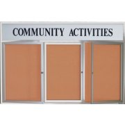 Outdoor Illuminated Cork Board 3-Door w/ Header (6'x4')