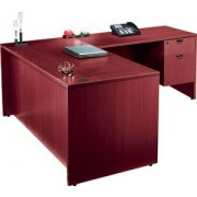 Laminate L-Shaped Office Desk with 2 Pedestals