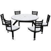 Round Outdoor Table with Cluster Seating - 6 Chairs, Anchors