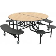 Round Cafeteria Table - Benches and Stools (60
