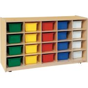 Mobile Cubby Storage w/ 20 Colored Cubby Bins