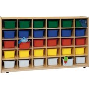 Mobile Cubby Storage w/ 30 Colored Cubby Bins