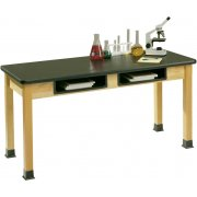 Science Lab Table with Epoxy Resin Top and Book Boxes (60x24x30