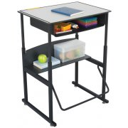 "Alphabetter Sit/Stand Desk - Premium Top, Bookbox, 28""x20"""