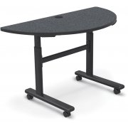 Adjustable-Height Sit/Stand Flipper Table, Half Round (48x24)