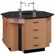 4-Student Octagon Island Table with Sink (Phenolic Top)
