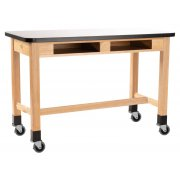 Mobile Wood Lab Table - Whiteboard, Book Boxes (72x30x36