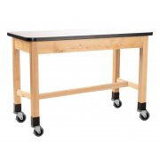 Mobile Wood Science Lab Table, Whiteboard Top (60x30x36