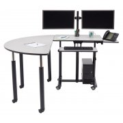 Deluxe Sit Stand Teachers Desk with Semi-Circle Table