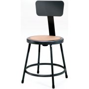 Metal Lab Stool with Backrest, Black Frame (18