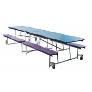 Swerve Cafeteria Bench Table 10', Plywood, ProtctEdg, Chrome
