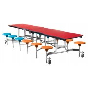 NPS Swerve Cafeteria Stool Table -12', Plywood, Chrome Frame