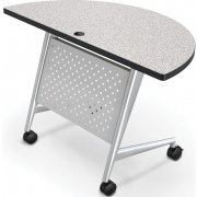 Half Round Trend Fliptop Training Table, Silver Frame (48x24)