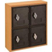 Cell Phone Lockers - Wood Frame, 4 Doors, Hasp Lock