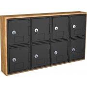 Cell Phone Lockers - Wood Frame, 8 Doors, Keyed Lock