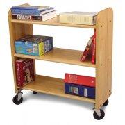 Wood Book Cart - 3 Level Shelves in Birch