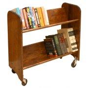 Wood Book Cart - 2 Tilted Shelves in Walnut