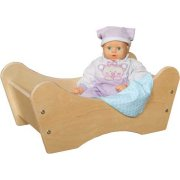Large Wooden Doll Bed