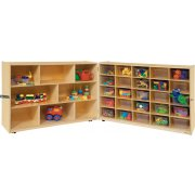 Mobile Cubby Storage w/ 5 Shelves, 25 Clear Cubby Bins