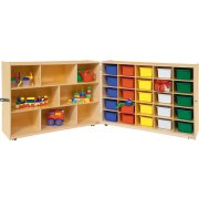 Mobile Cubby Storage w/ 5 Shelves, 25 Colored Cubby Bins