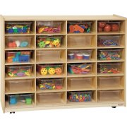 Mobile Cubby Storage w/ 24 Large Clear Cubby Bins
