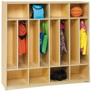 Birch Wood Space-Saver Preschool Lockers - 8-Section