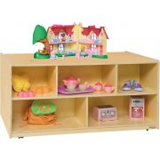 Mobile Double-Sided Wooden Cubby Storage (24