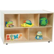 Mobile Double-Sided Wooden Cubby Storage (30