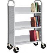 Single Sided Sloped-Shelf Book Cart, 3 shelves