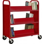 Double Sided Sloped-Shelf Book Cart