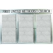 Weatherproof  Enclosed Vinyl Board 3 Door w/Header (6'x4')