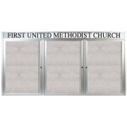 Weatherproof  Enclosed Vinyl Board 3 Door w/Header (8'x4')