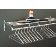 Aluminum Wall Mounted Coat Rack with Hat Shelf (3')