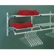 Aluminum Wall Mounted Coat Rack with 2 Hat Shelves (7')