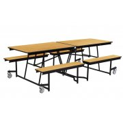 Fixed-Bench Mobile Cafeteria Table - Plywood, Chrome (8')