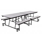 Fixed-Bench Mobile Cafeteria Table - Plywood, Chrome (10')